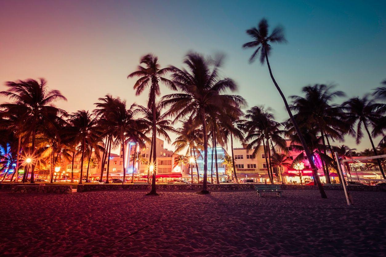 邁阿密南海灘夜生活的影像